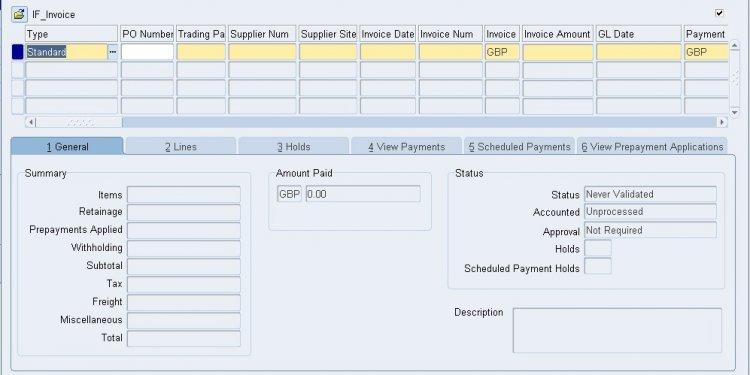 Oracle Invoice - accounting